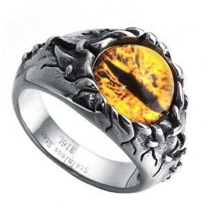 anillo de dragones con gran ojo dorado hechicero