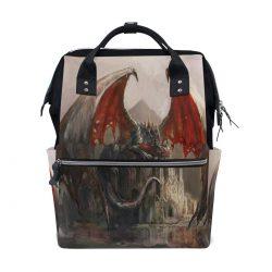 Bolsa de viaje con dragón atacando castillo multifuncion