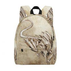 Mochila con silueta de dragon casual color arena