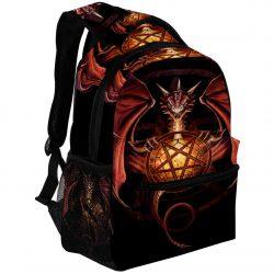 Mochila con pentagrama de dragon rojo hechicero oscuro