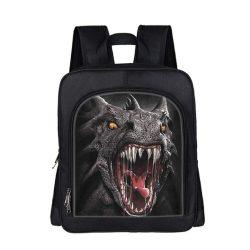 Mochila con cabeza y colmillos de dragon negro escolar