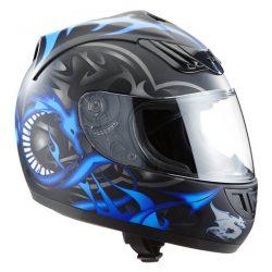 Casco de moto con Dragon azul mate