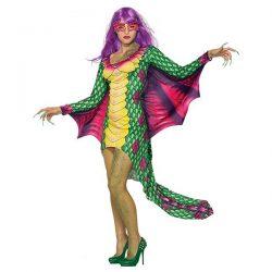 disfraz de mujer adulta dragon oriental verde