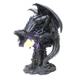 Lampara de mesilla gran dragon negro sobre torre
