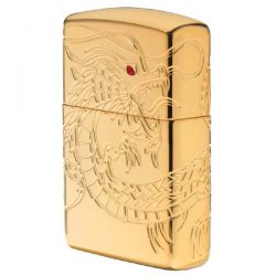 Zippo de Dragon Dorado chino bañado en oro