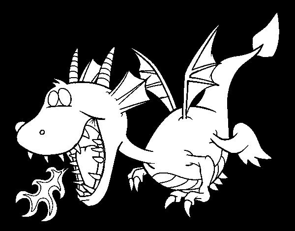 dragon de dibujos animados escupiendo fuego