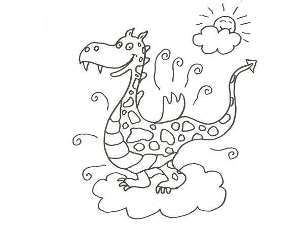 dragon para peques sonriente al sol