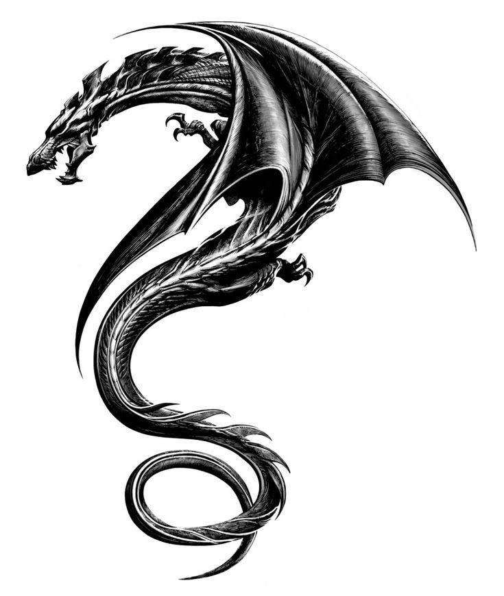 realista figura de dragón oscuro de aspecto tribal
