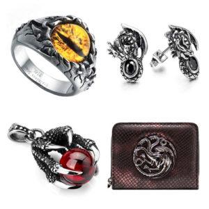 accesorios de dragon: anillos, pendientes, colgantes, carteras...