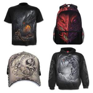ropa de dragón: camisetas, sudaderas, mochilas, gorras...