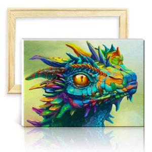 Cuadro de dragón bebé cromático lienzo pared