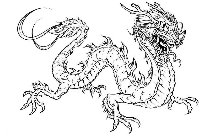 dragon para colorear japones furioso
