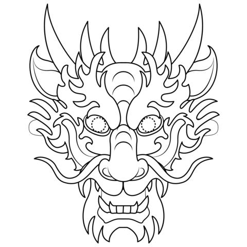 careta de dragón oriental para rellenar de color